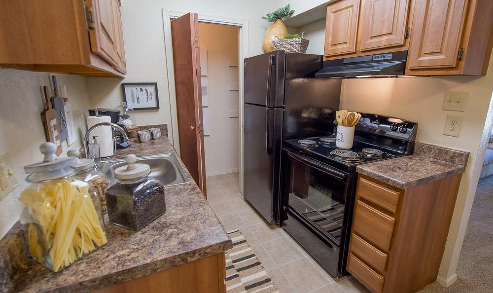 Modern kitchen at Sunchase Apartments in Tulsa, Oklahoma