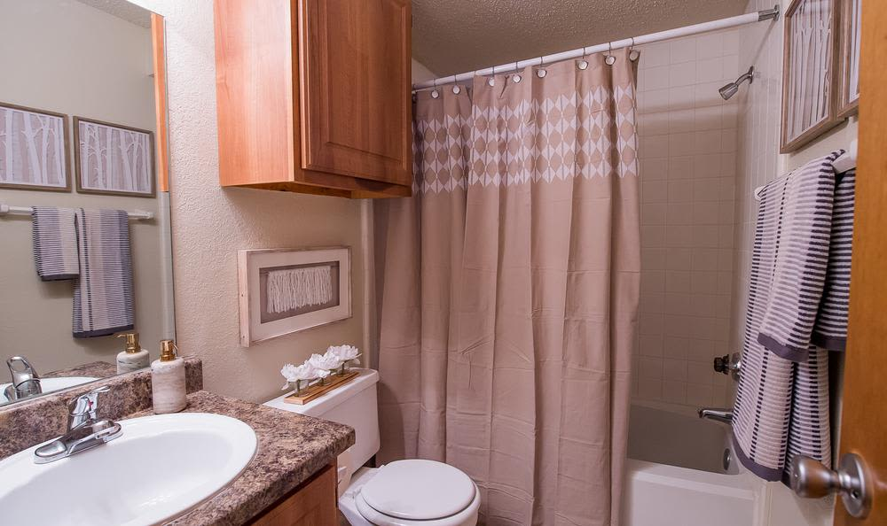 Bathroom at Sunchase Apartments in Tulsa, Oklahoma