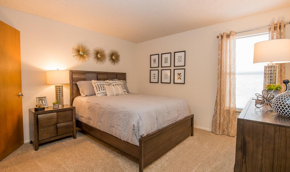 Bedroom at Sunchase Apartments in Tulsa, Oklahoma