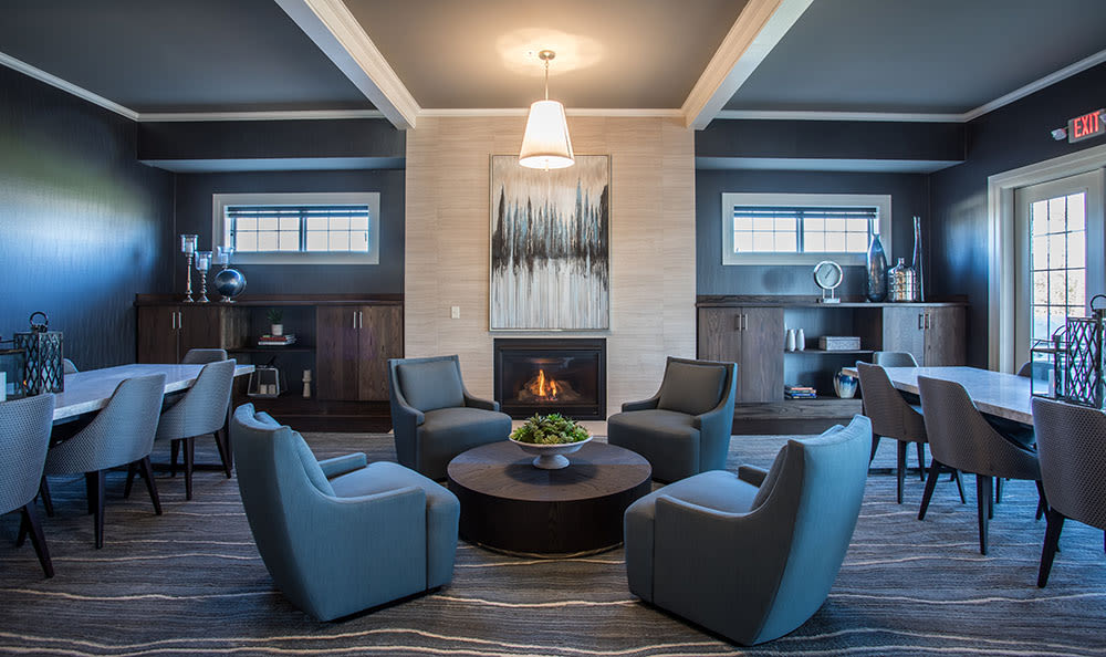 Modern fireplace in our Rochester, New York apartments