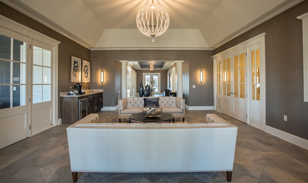 Beautiful living room at Fairview at Town Center in Rochester, New York