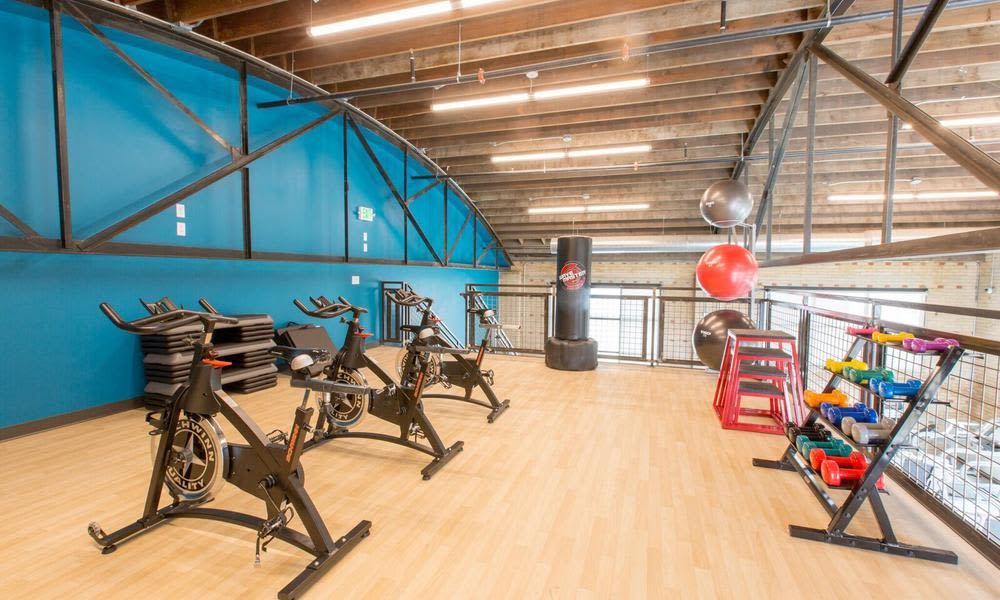 Fitness area at Oxford Station Apartments in Englewood