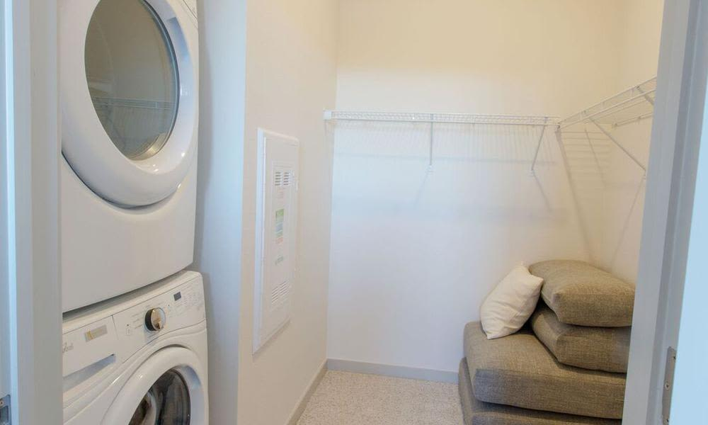 Laundry facility at Oxford Station Apartments in Englewood, Colorado