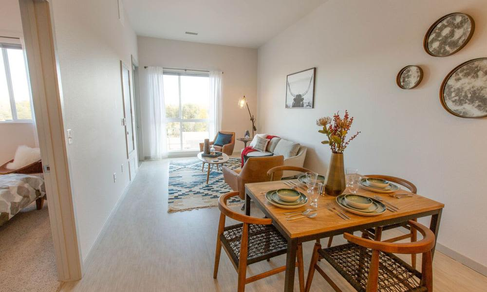 Dinning room at Oxford Station Apartments in Englewood, Colorado