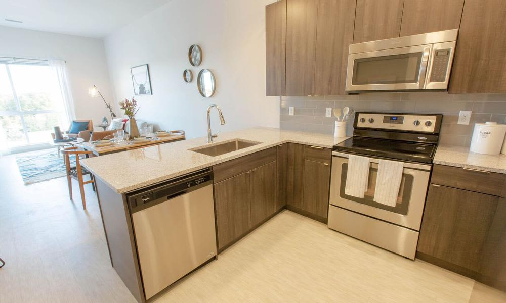 Kitchen at Oxford Station Apartments in Englewood, Colorado