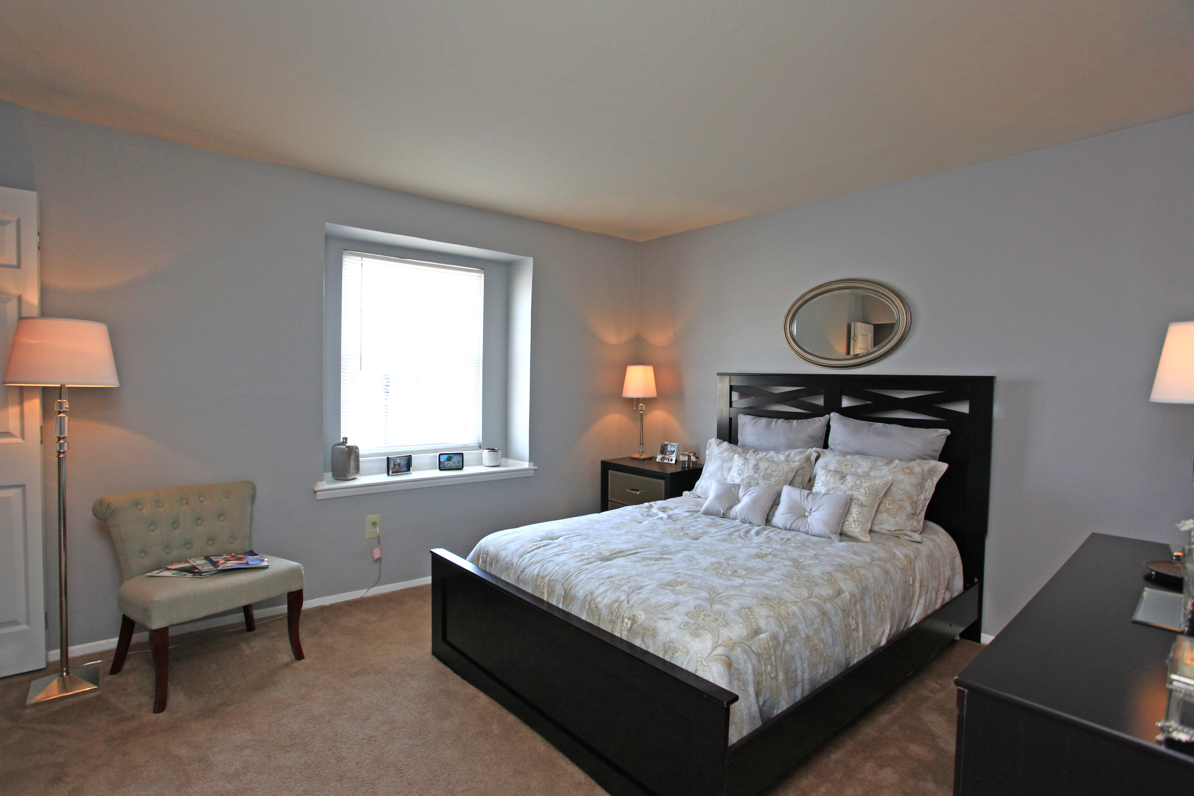 Modern bedroom at apartments in Middle River, Maryland