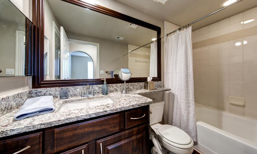 Comfortable bathroom at Marquis at Stonegate in Fort Worth, Marquis at Stonegate
