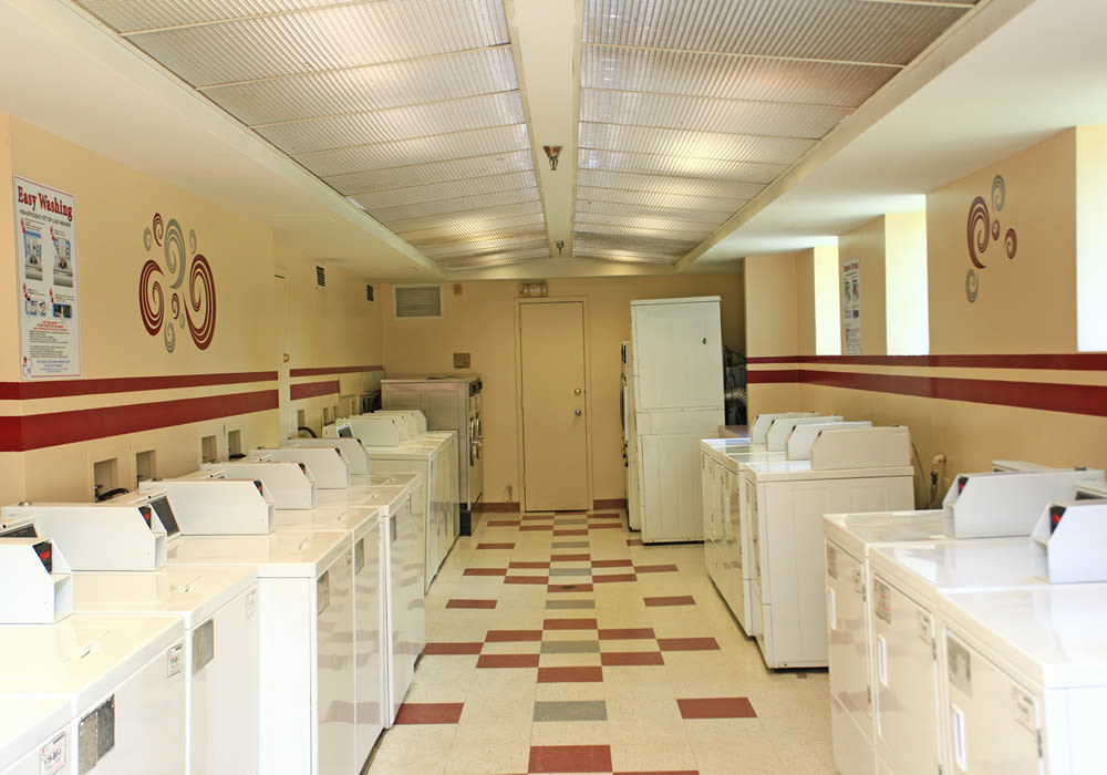 Spacious laundry facility at Hamilton Manor in Hyattsville, Maryland