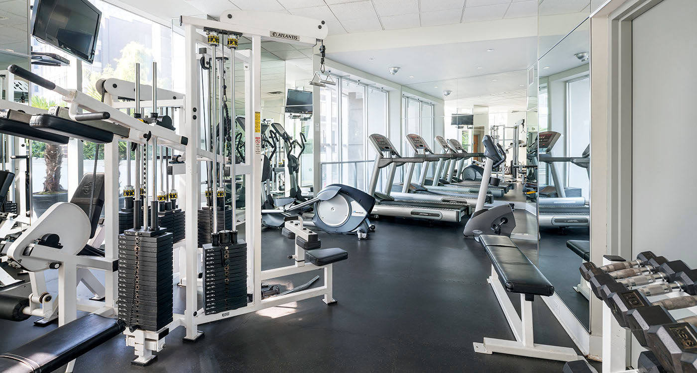 Modern fitness center at Bayview at Coal Harbour in Vancouver, British Columbia