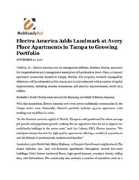 Electra America Adds Landmark at Avery Place Apartments in Tampa to Growing Portfolio