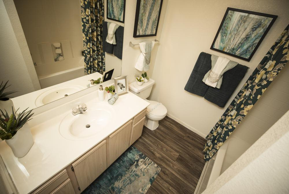 Comfortable bathroom at San Valiente Luxury Apartment Homes in Phoenix