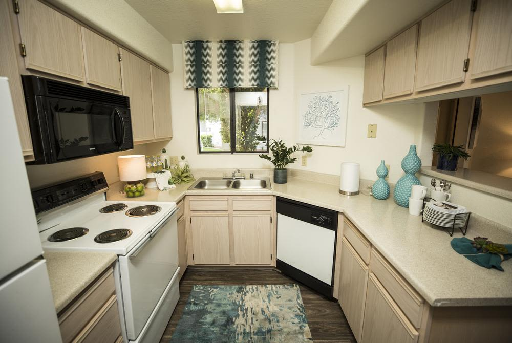 Stainless-steel appliances at San Valiente Luxury Apartment Homes