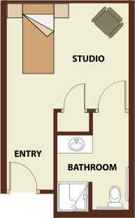 Studio 1 bath, 283 SQ FT