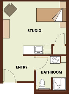 Studio 1 bath, 342 SQ FT