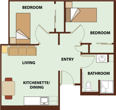Two bedroom, 638 SQ FT