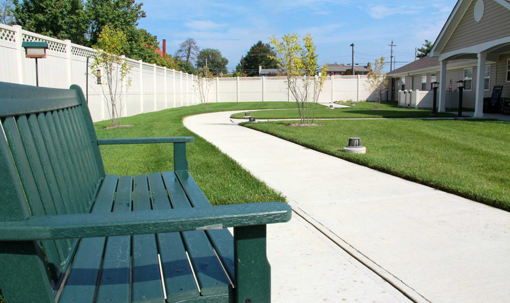 Outdoor bench at Artis Senior Living of Bridgetown