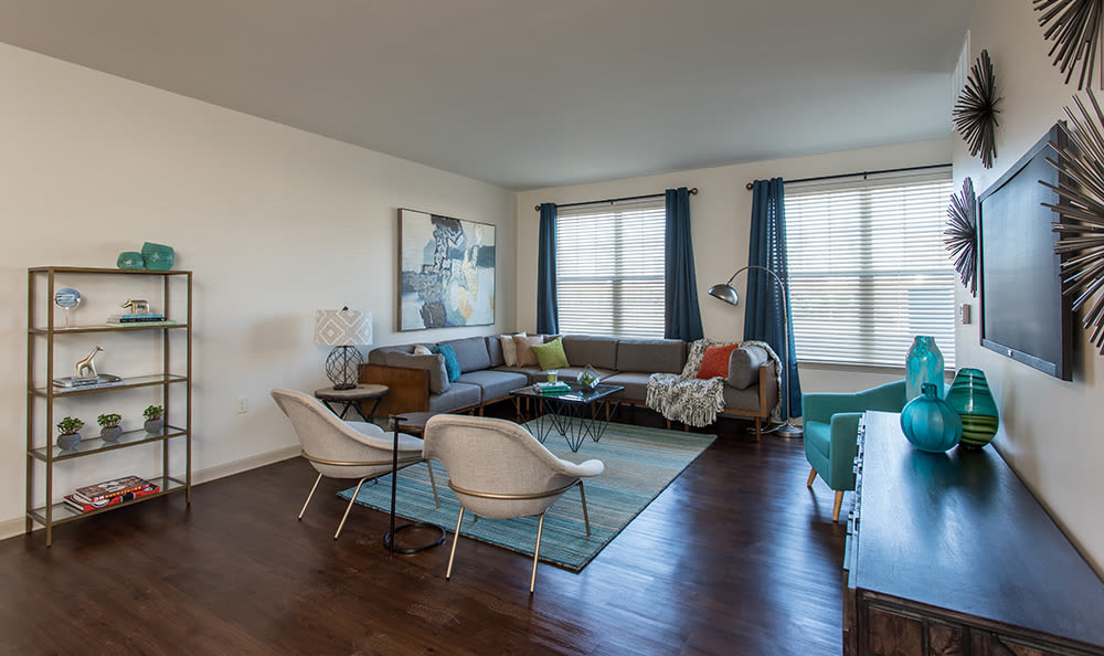 Beautiful living room at Fairview at Town Center Apartment Homes in Rochester, New York