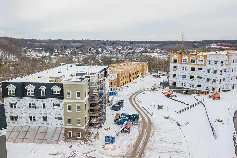 Ellison Heights Apartments construction exterior in Penfield Rochester