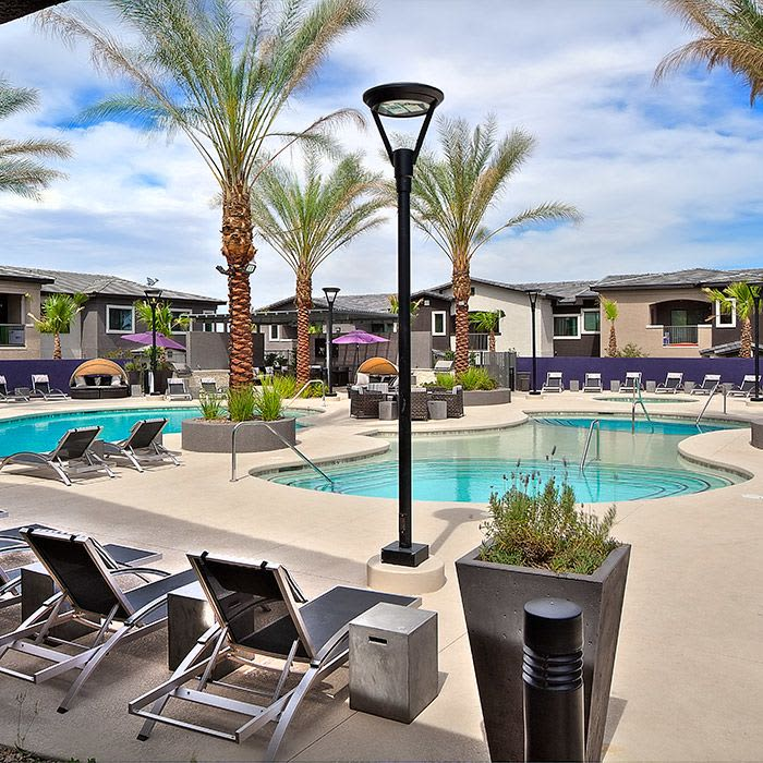 Gorgeous swimming pool area at Union Apartments in Las Vegas