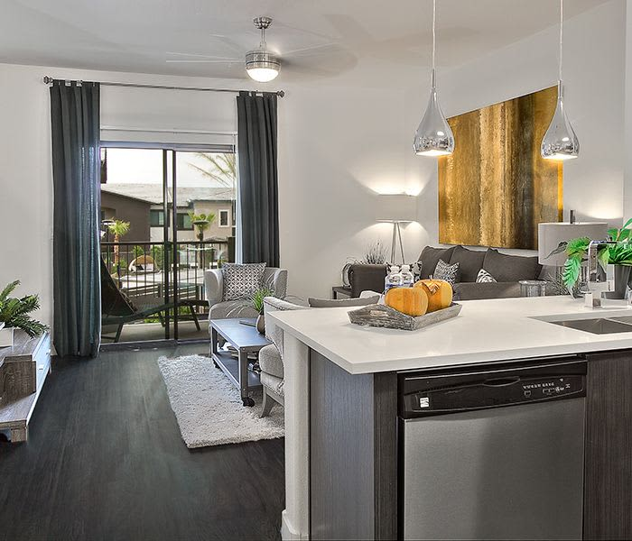 Upgraded kitchen at Union Apartments overlooking spacious living room