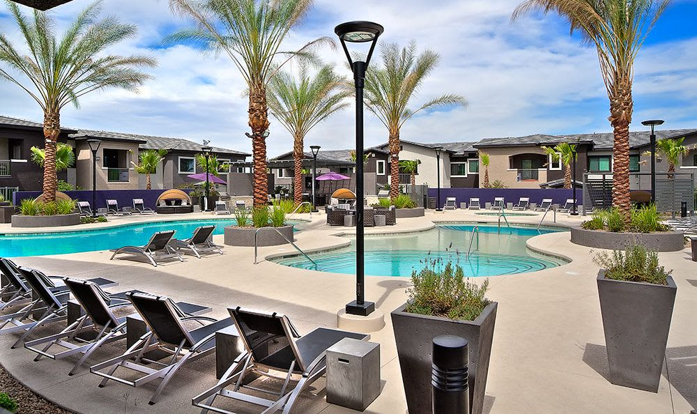 Swimming pool area at Union Apartments in Las Vegas