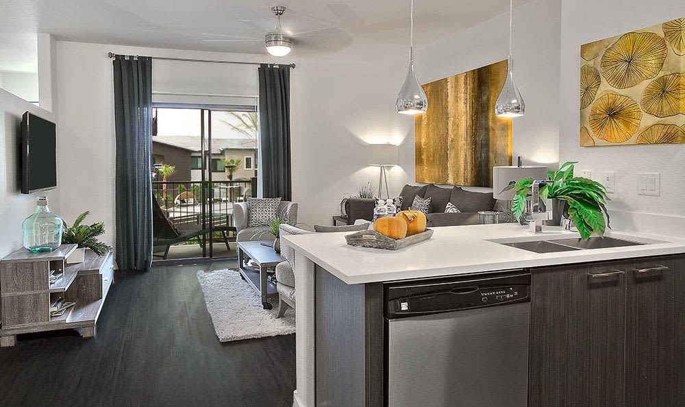 View of living room from model home's kitchen at Union Apartments in Las Vegas