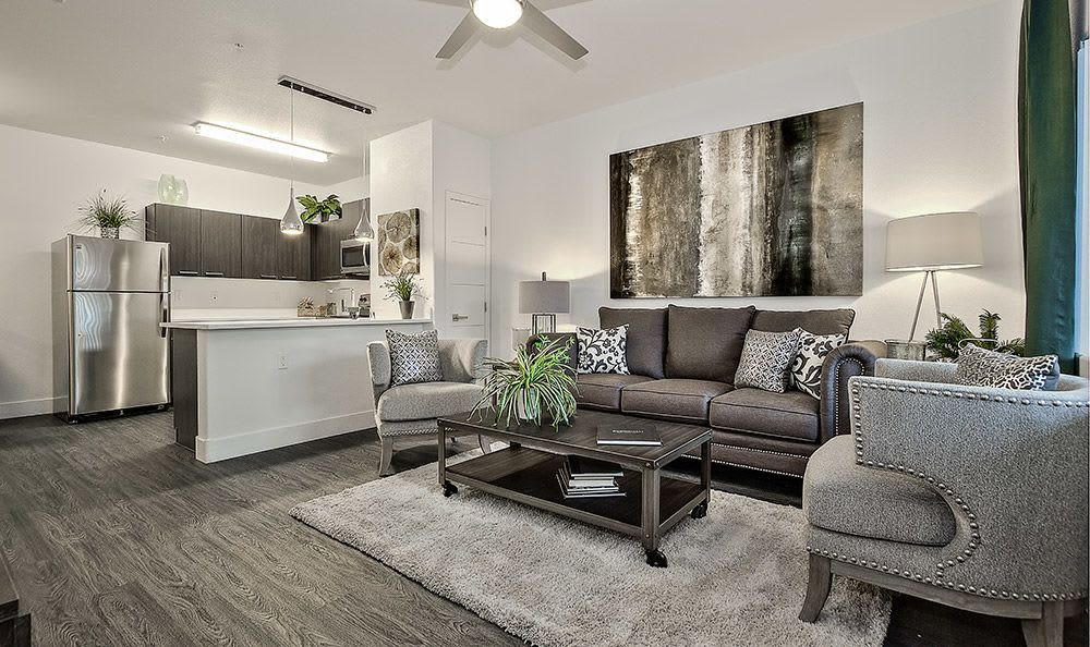 Beautiful and spacious living room in model home at Union Apartments in Las Vegas