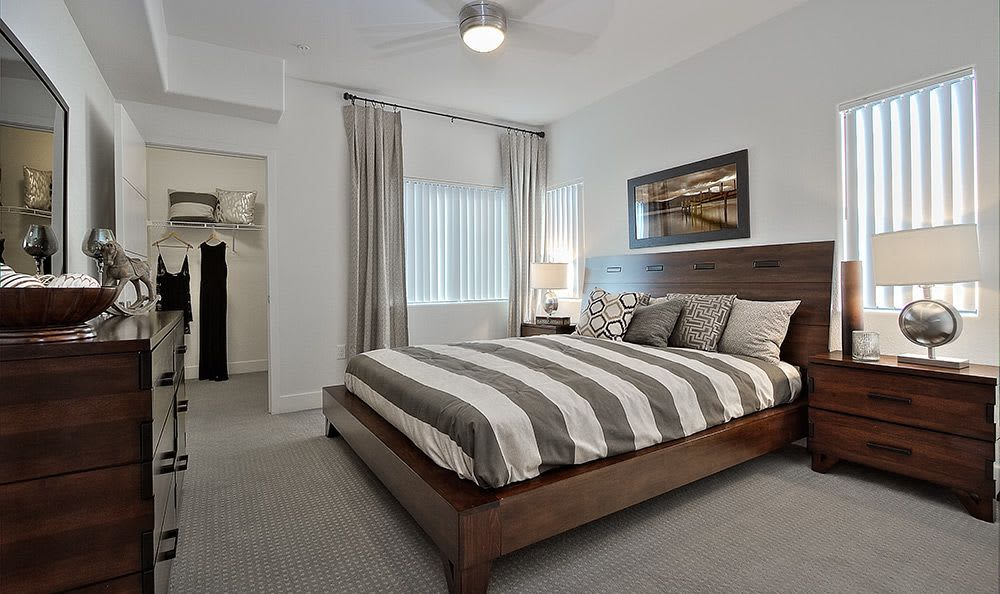 Plenty of room for modern furnishings in bedroom at Union Apartments in Las Vegas