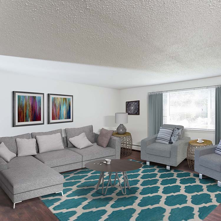 Spacious living room at Perinton Manor Apartments
