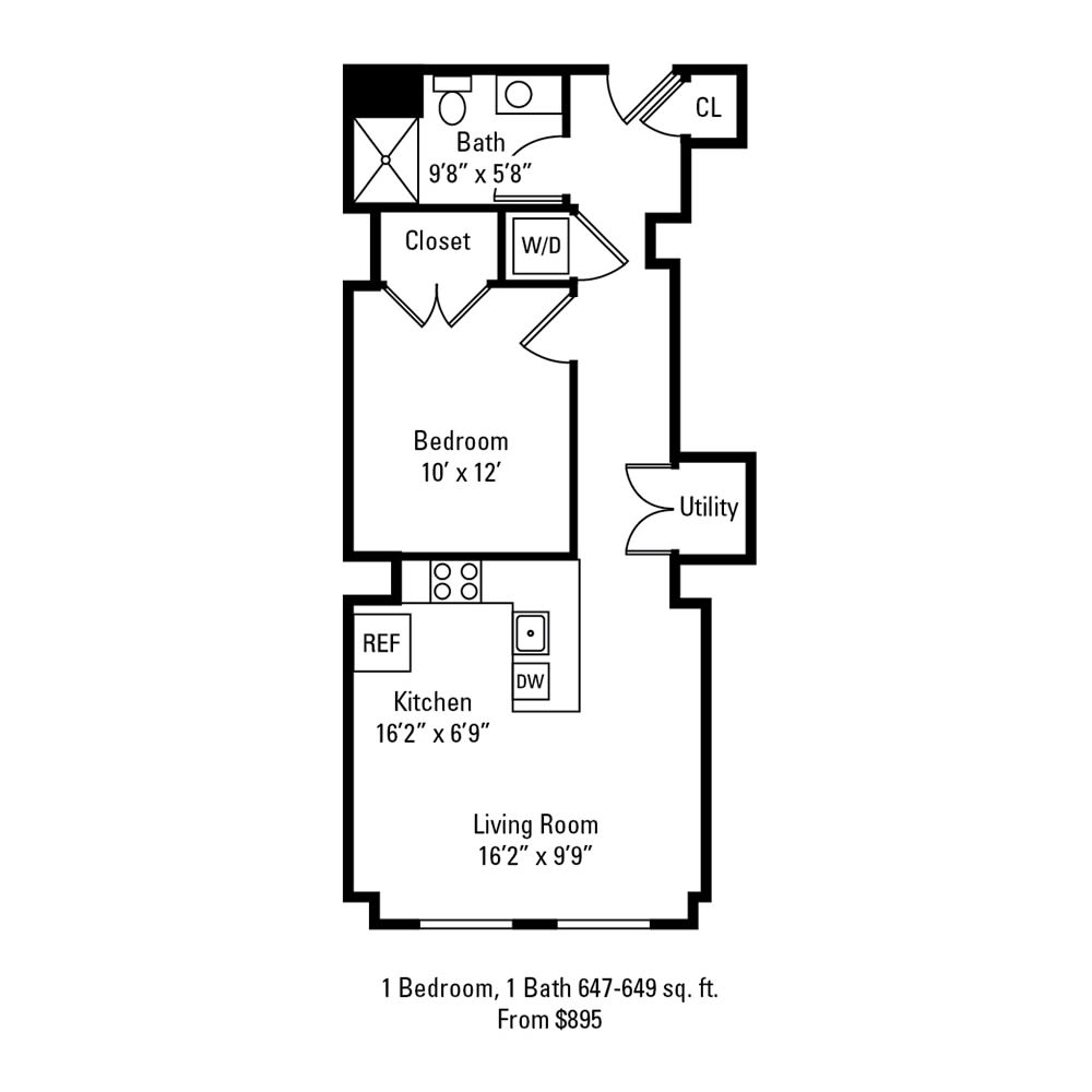1 Bedroom, 1 Bath 647-649 sq. ft. apartment at The Linc in Rochester, NY