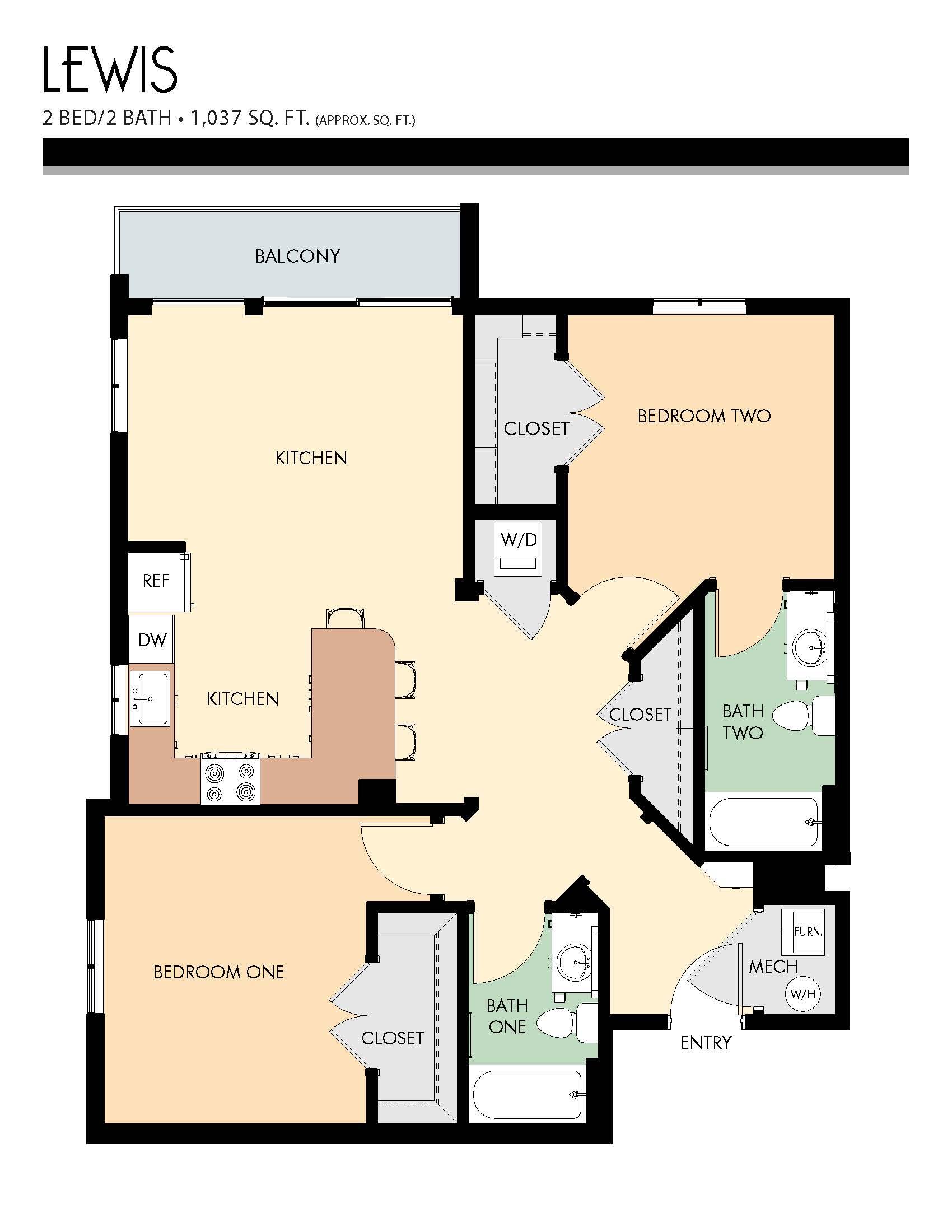 Lewis floor plans - 2 Bed / 2 Bath (1,037 Sq Ft)
