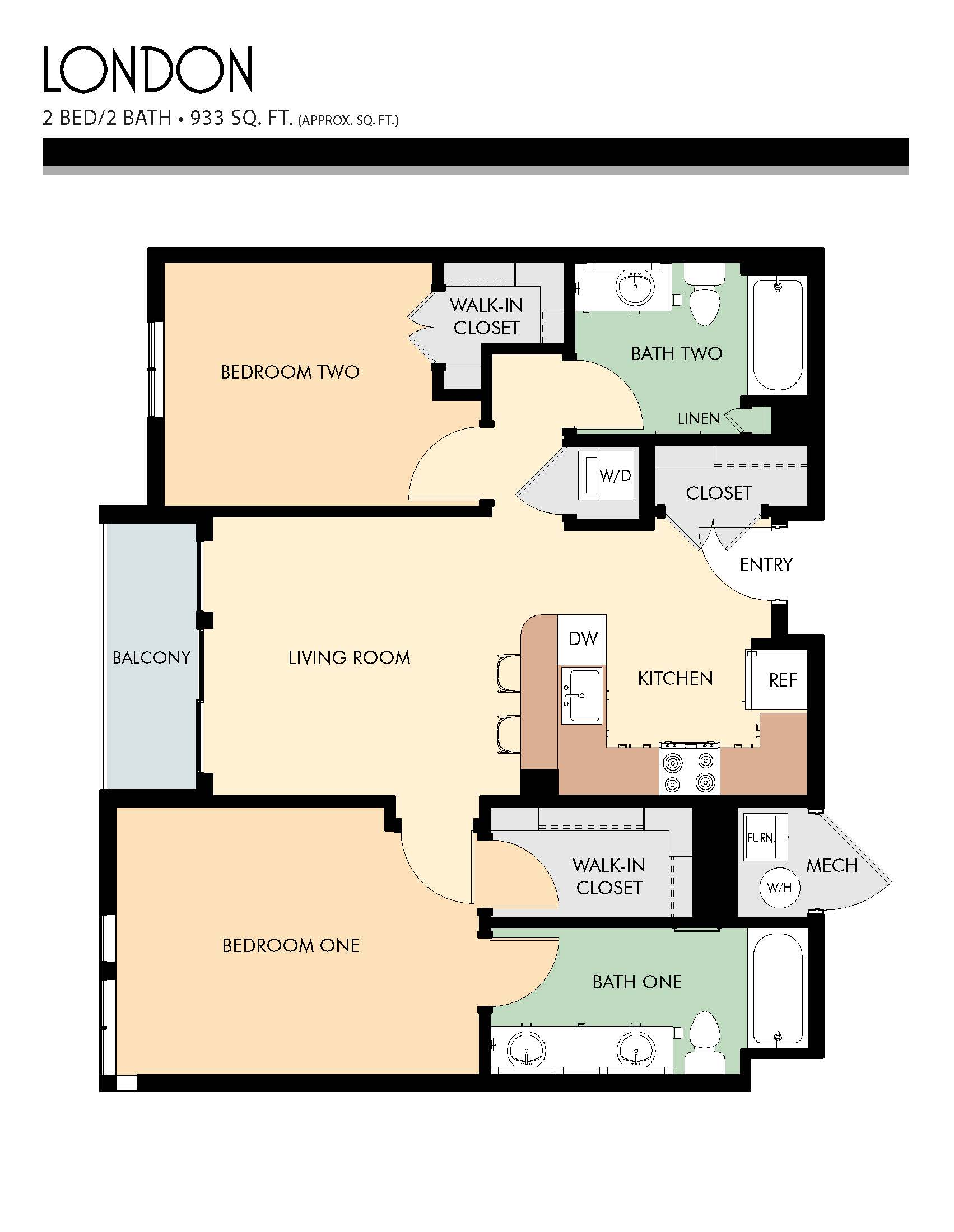 London floor plans - 2 Bed / 2 Bath (933 Sq Ft)