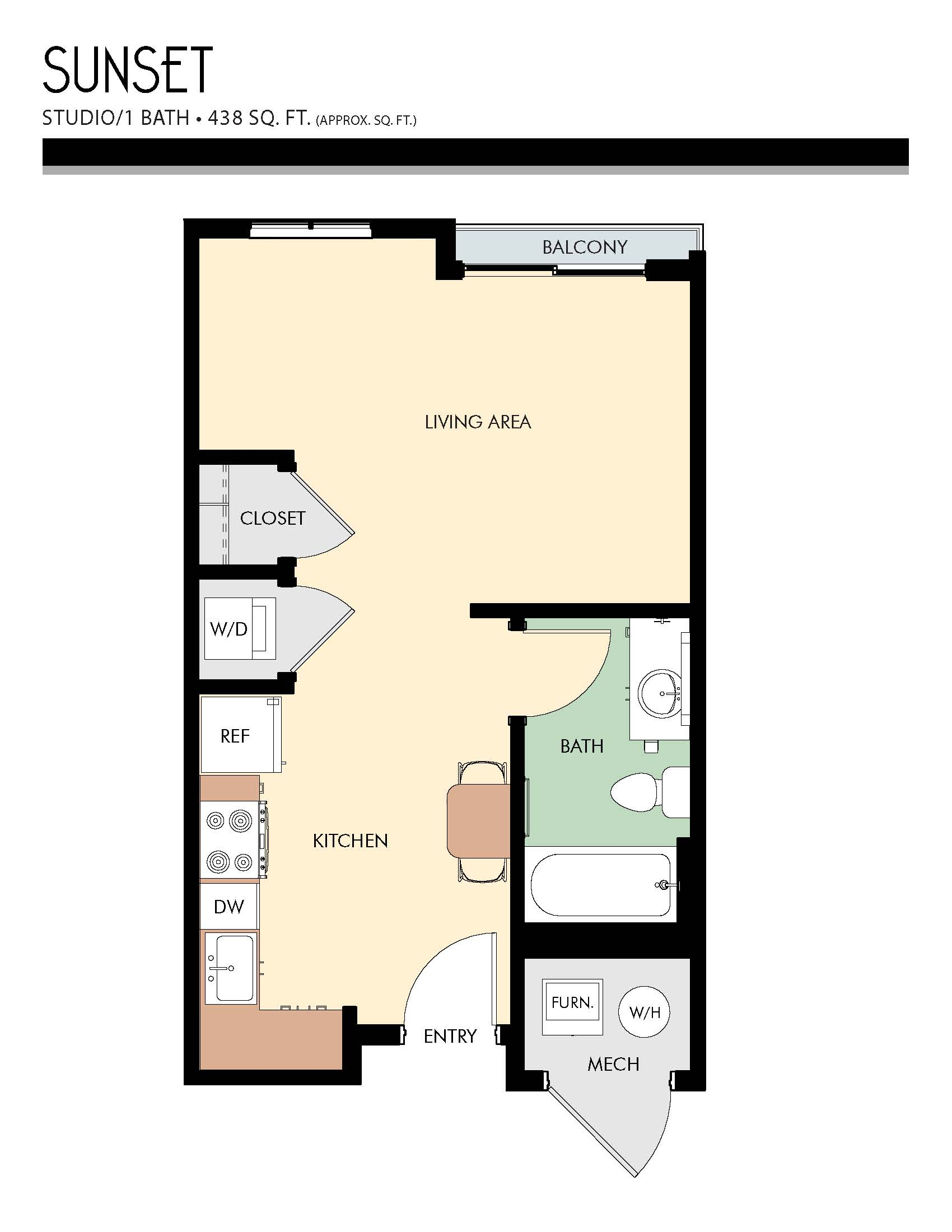 SUNSET floor plan -  Studio / 1 Bath (438 Sq Ft)