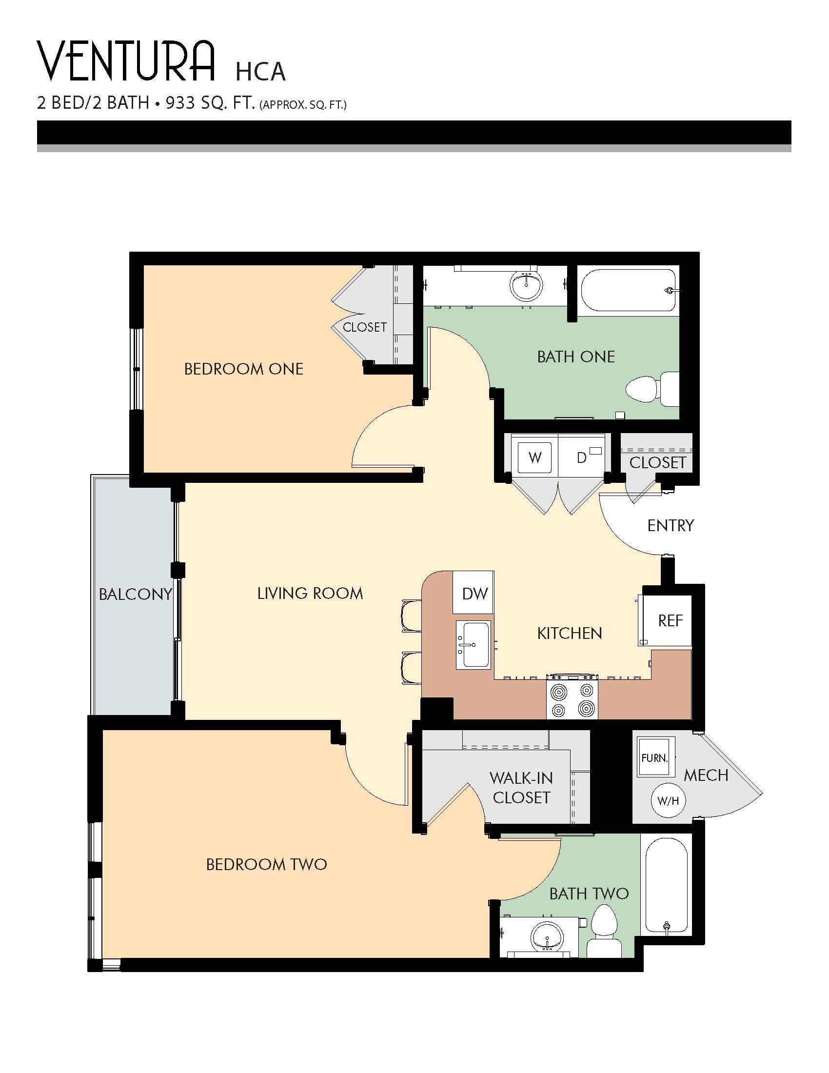 Ventura HCA floor plans - 2 Bed / 2 Bath (933 Sq Ft)