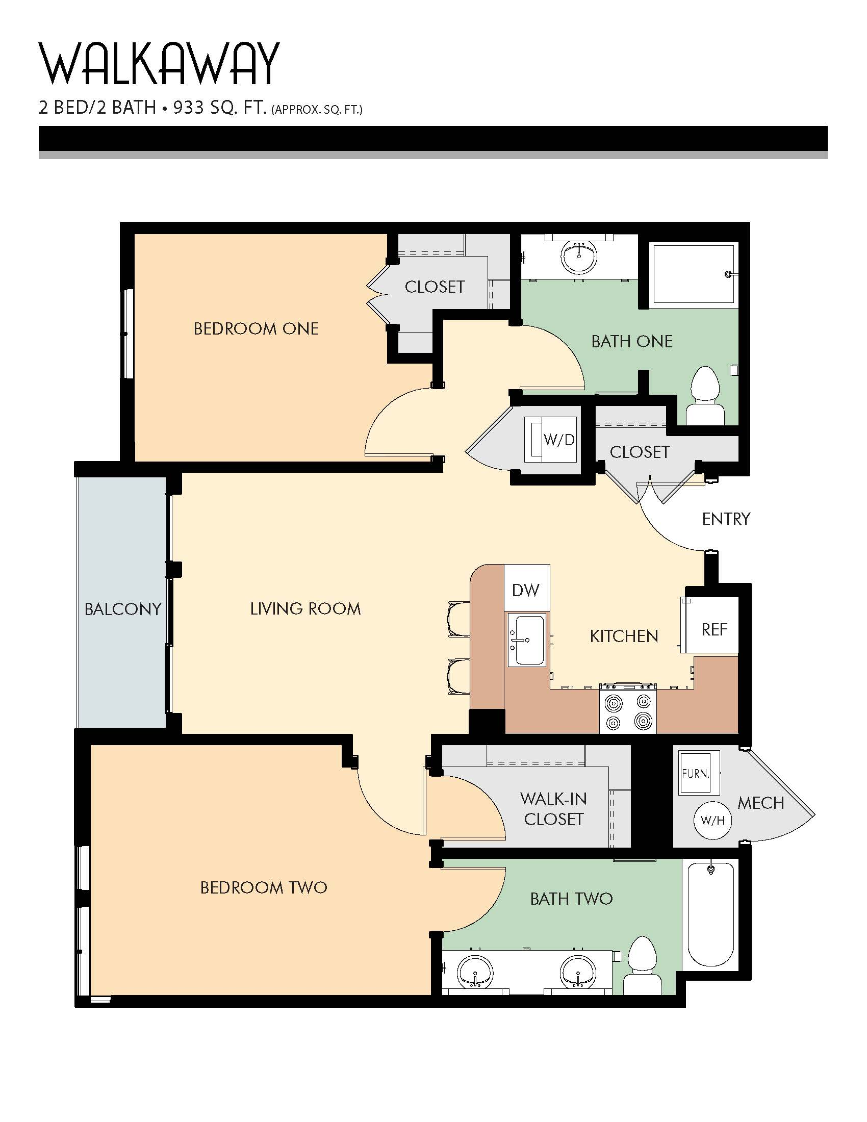 Walkaway floor plans - 2 Bed / 2 Bath (933 Sq Ft)