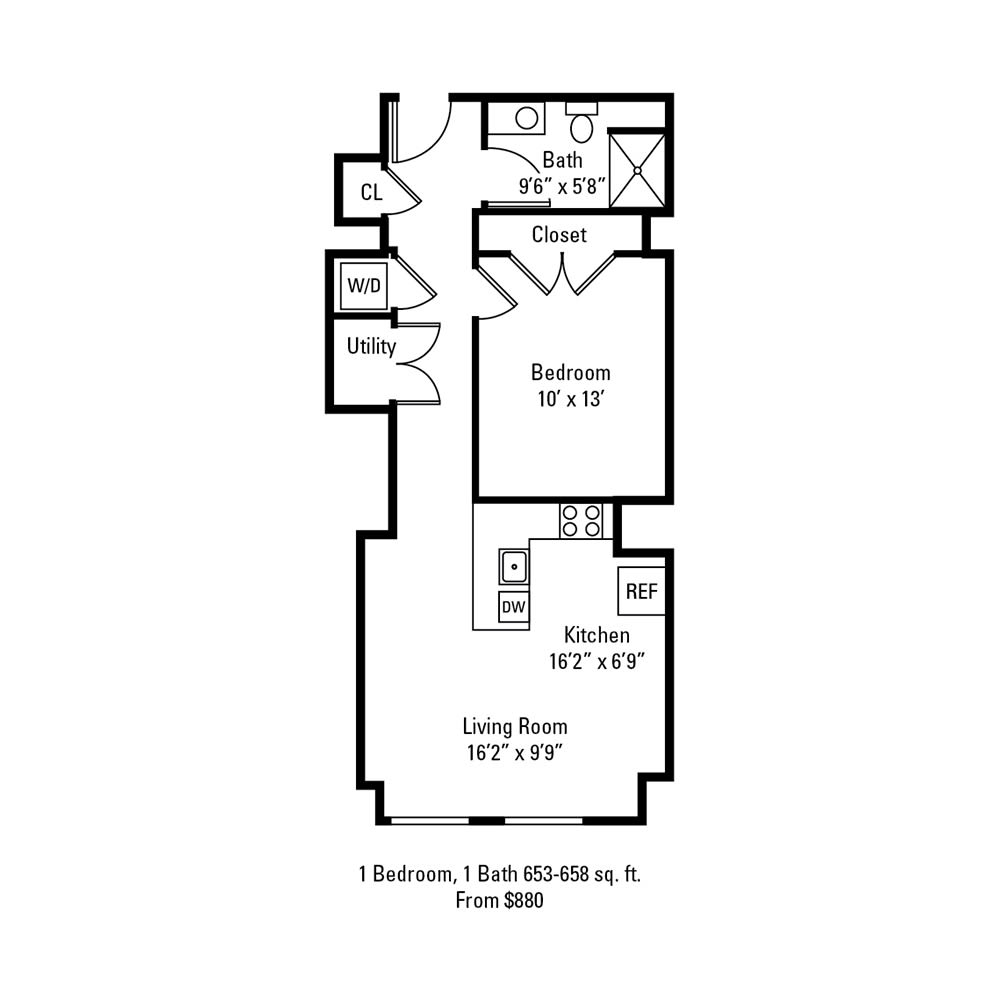 1 Bedroom, 1 Bath 653-658 sq. ft. apartment at The Linc in Rochester, NY