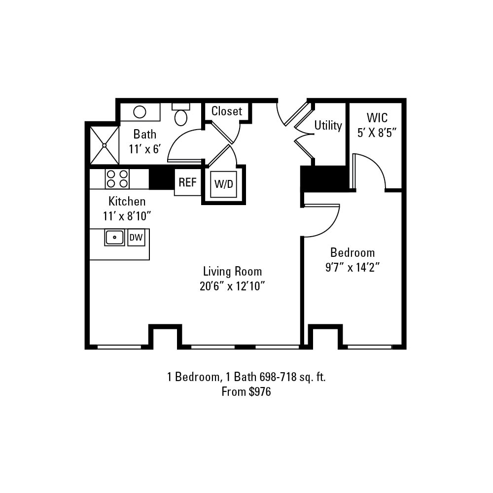 1 Bedroom, 1 Bath 698-718 sq. ft. apartment at The Linc in Rochester, NY