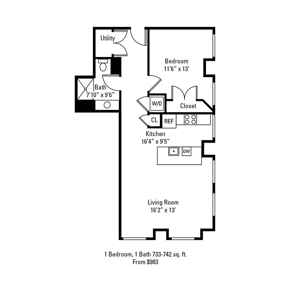 1 Bedroom, 1 Bath 733-742 sq. ft. apartment at The Linc in Rochester, NY