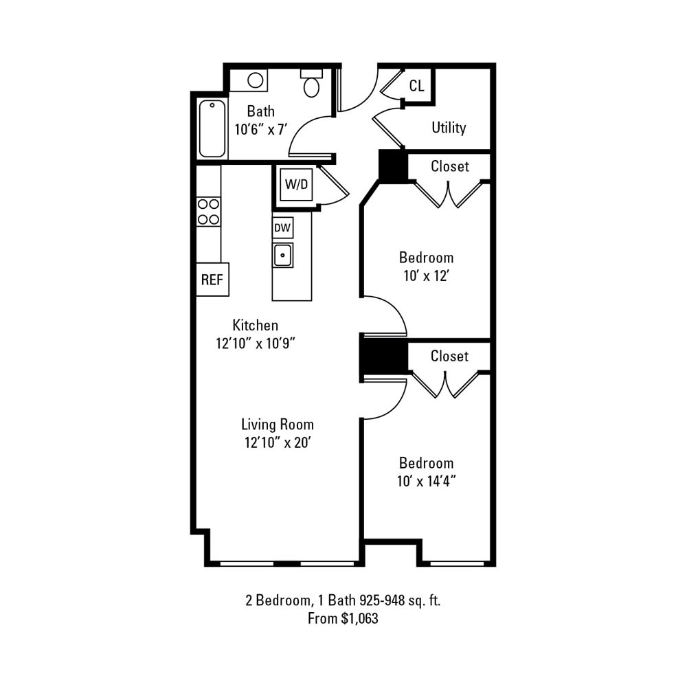 2 Bedroom, 1 Bath 925-948 sq. ft. apartment at The Linc in Rochester, NY