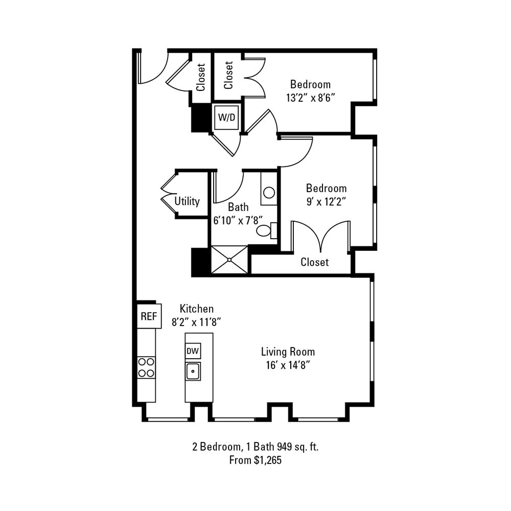 2 Bedroom, 1 Bath 949 sq. ft. apartment at The Linc in Rochester, NY