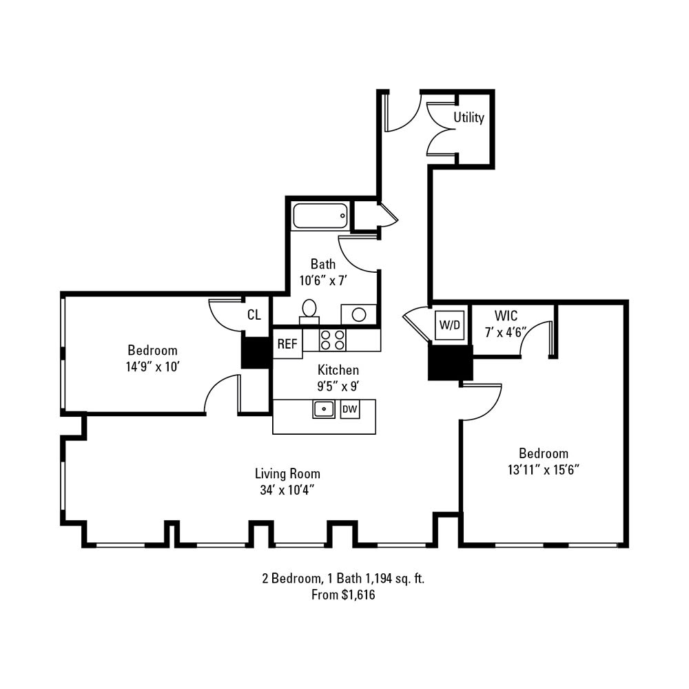 2 Bedroom, 1 Bath 1,194 sq. ft. apartment at The Linc in Rochester, NY