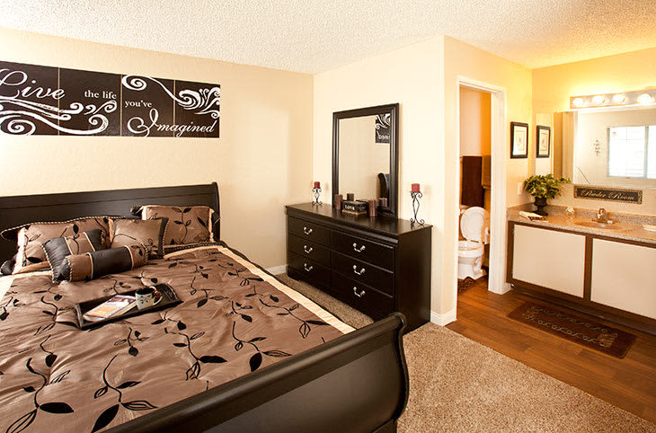 A bedroom inside our apartments in Las Vegas.