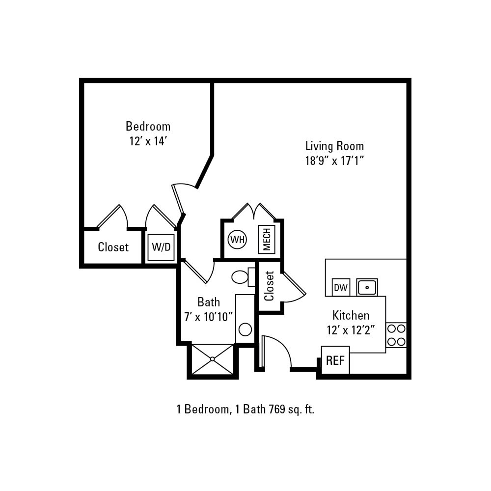 1 Bedroom, 1 Bath 769 sq. ft. apartment in Rochester, NY