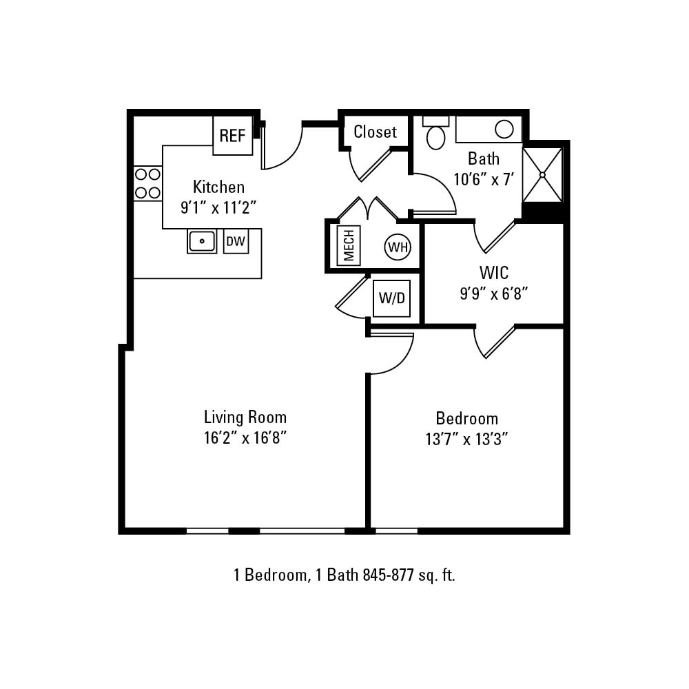 1 Bedroom, 1 Bath 845-877 sq. ft. apartment in Rochester, NY