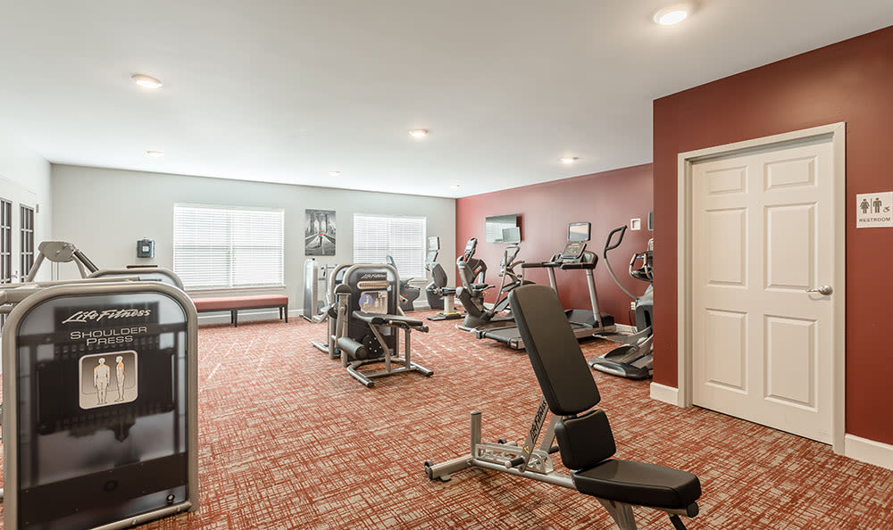 Fitness center at Village Heights Senior Apartments