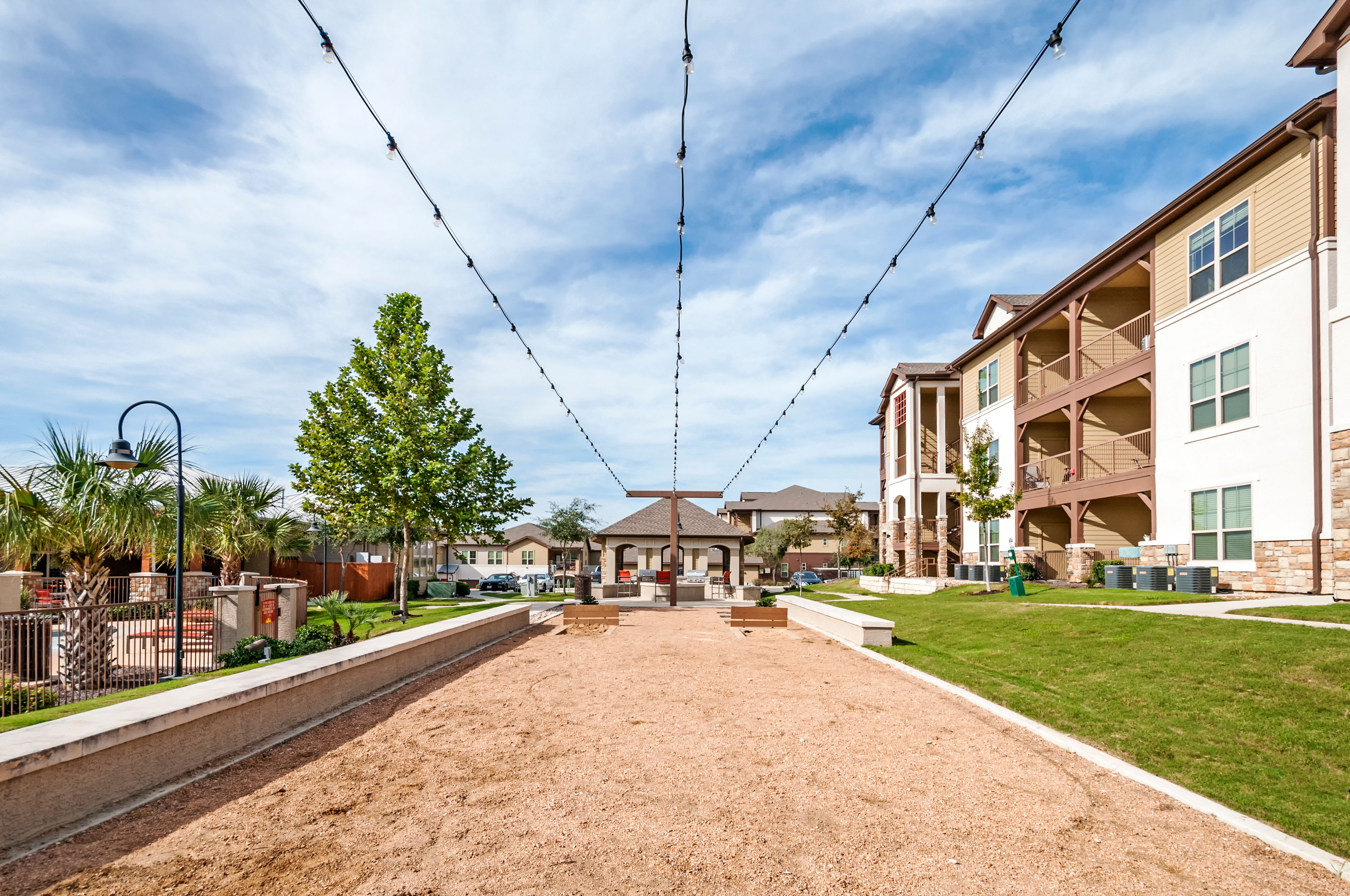 Outdoor horseshoes at Firewheel Apartments in San Antonio