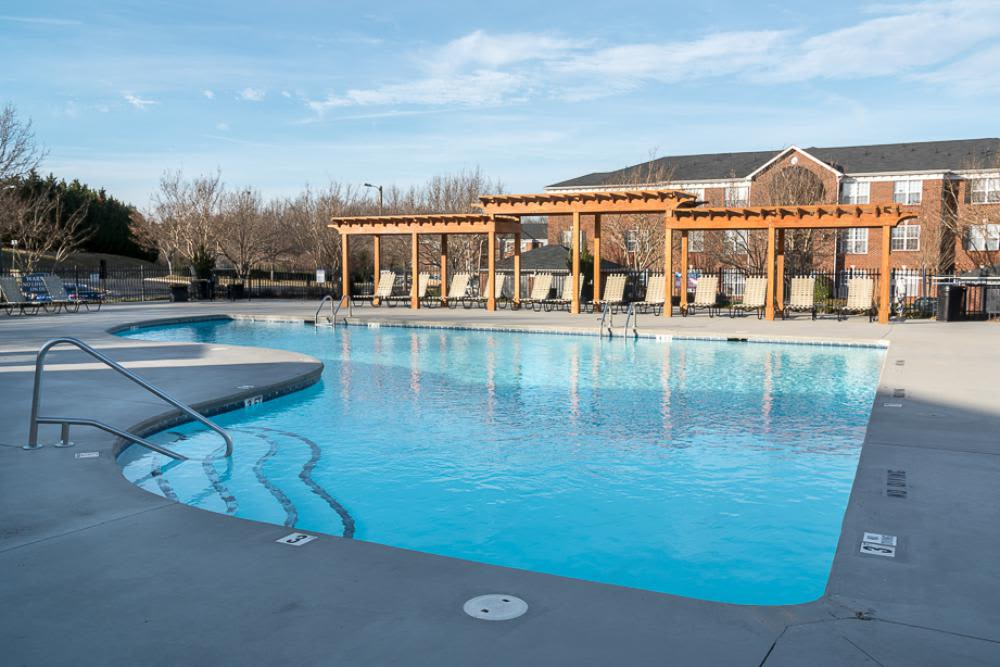 View of the pool from the swim deck at Laurel Springs in High Point