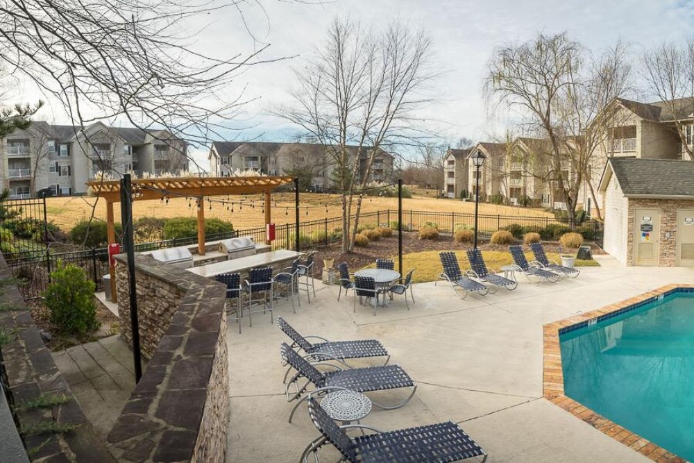 Pool area at The Enclave at Deep River in Greensboro, North Carolina