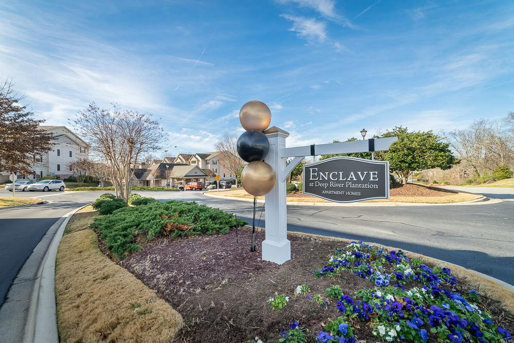 Apartment signage at The Enclave at Deep River in Greensboro, NC