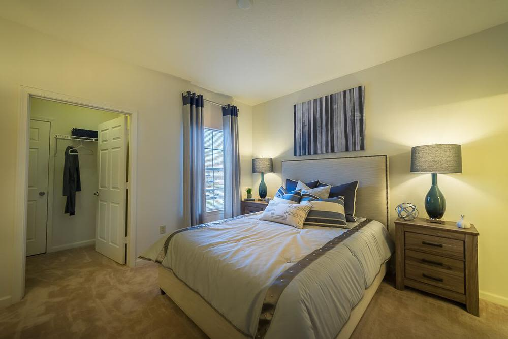 Beautiful bedroom at The Enclave at Deep River in Greensboro, North Carolina